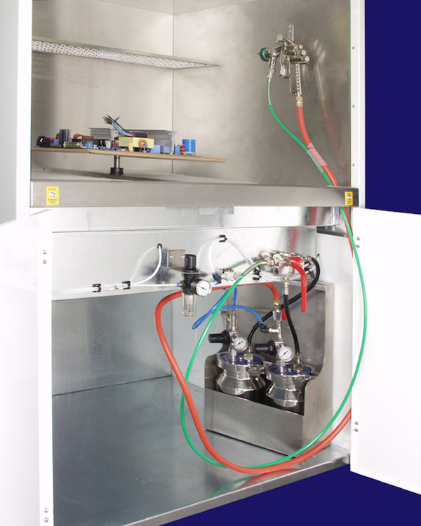 A dedicated conformal coating spray booth can help with the correct application