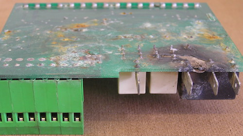 A corroded circuit board that may have been protected if a conformal coating was used