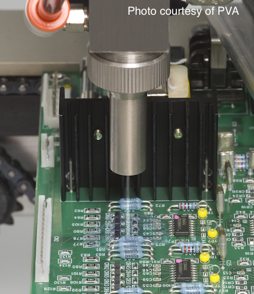 Applying conformal coating around 3D circuit component devices can by difficult